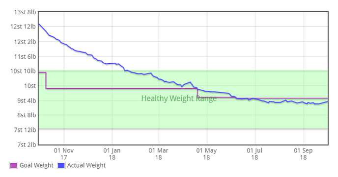 Viv's Amazing Weight Loss Graph